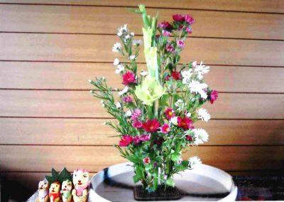 玄関に飾った生け花